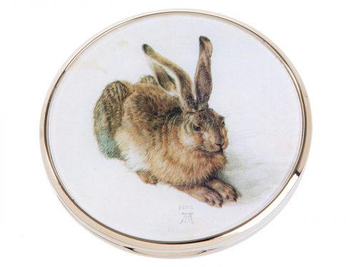 "This beautifully crafted pocket mirror by John Beswick comes with a stunning extract of the painting ""Young Hare"" which was painted in 1502 by the German artist Albrecht Dürer.  It is acknowledged as a masterpiece of observational art with almost photographic accuracy. Size: Diameter: 7 cm - 3"" By John Beswick. Product Code: M05DU(G)"