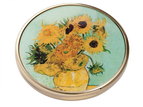 "This beautifully crafted pocket mirror made by Parastone comes with a stunning extract from Vincent Van Gogh's ""Sunflowers"" painted in 1888. Vincent Van Gogh's ""Sunflowers"" is made of two separate paintings, one painted in 1987 was of sunflowers laid on the ground, the second a year later in 1988 with sunflowers in a vase. Size: Diameter: 7 cm - 3"". By John Beswick / Parastone. Product Code: M07GO(G)"