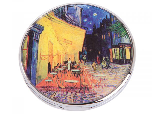 """This beautifully crafted pocket mirror by Parastone comes with a stunning extract from Vincent Van Gogh painting of """"Terrasse Du Cafe Le Soir"""". Terrace Du Cafe le Soir was painted on a mid-September night in Arles, France. Size: Diameter: 7 cm - 3"""". By John Beswick / Parastone. Product Code: M08GO(S)"""
