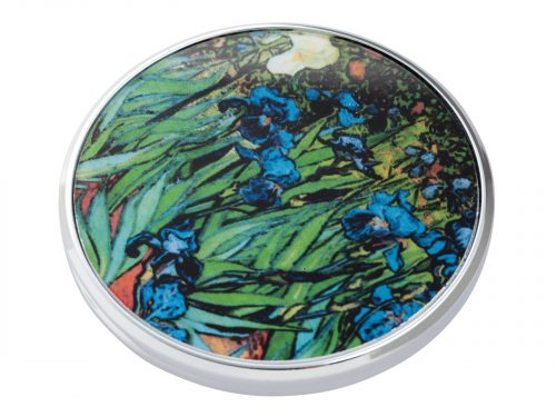 "This beautifully crafted pocket mirror made by Parastone comes with a stunning extract from Vincent Van Gogh's ""Irises"". A painting that comes from a series of paintings that Van Gogh made at the Saint Paul-de-Mausole asylum in Saint-Remy-de-Provence during the last year before his death in 1890. Size: Diameter: 7 cm - 3"". By John Beswick / Parastone. Product Code: M09GO(S)"