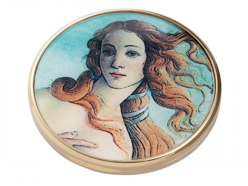 "This beautifully crafted pocket mirror by John Beswick comes with a stunning extract of the painting ""The Birth of Venus"" which was painted by the Italian artist Sandro Botticelli. Thought to of been painted in the mid 1480s, It depicts the goddess Venus arriving at the shore after her birth. Size: Diameter: 7 cm - 3"". By John Beswick. Product Code: M12BO(G)."