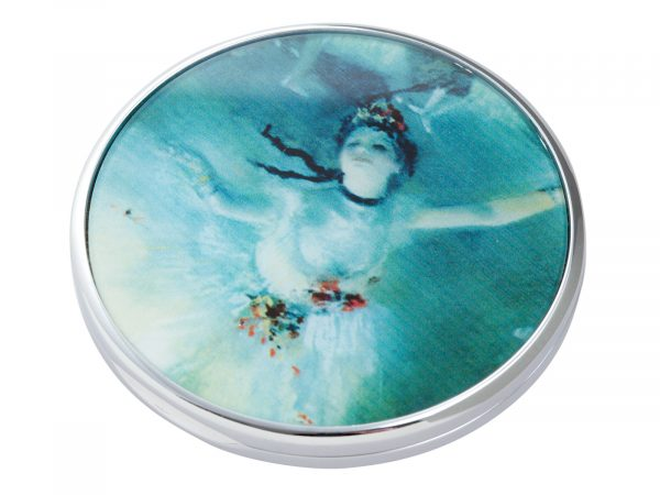 """Edgar Degas was a French artist famous for his paintings, sculptures, prints, and drawings. He is especially identified with the subject of dance; more than half of his works depict dancers. This beautifully crafted pocket mirror by Parastone features an Extract from his """"Ballerina"""" painting. Size: Diameter: 7 cm - 3"""". By John Beswick / Parastone. Product Code: M14DE(S)"""