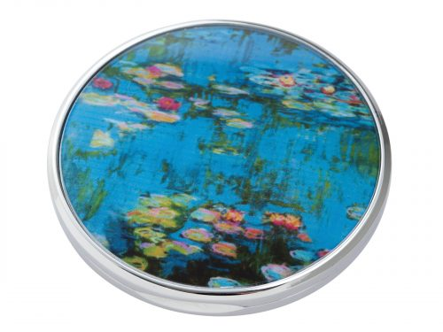 """Water Lillies"" is a series of approximately 250 oil paintings created by French Impressionist Claude Monet, the paintings depict Monet's Home Garden in Giverny, France. This beautifully crafted pocket mirror by Parastone features a stunning extract of one of Monet's Water Lilly paintings. Size: Diameter: 7 cm - 3"". By John Beswick / Parastone. Product Code: M15MO(S)"