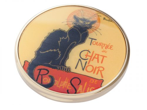 "Le Chat Noir was a nineteenth-century entertainment establishment, in the bohemian Montmartre district of Paris. This beautifully crafted pocket mirror by John Beswick comes with a stunning extract from painter/designer Theophile Steinlen's Poster Art advertising the ""Tour"" of Le Chat Noir's troupe of cabaret entertainers. Size: Diameter: 7 cm - 3"". By John Beswick / Parastone. Product Code: M16ST(G)"
