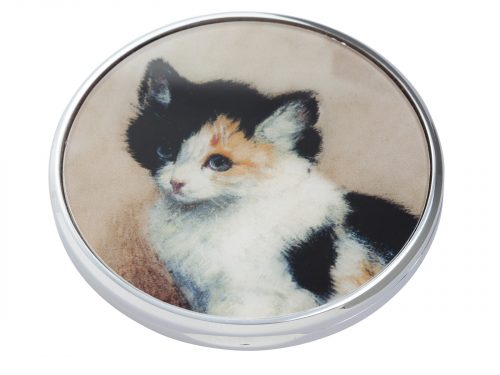 "This beautifully crafted pocket mirror by Parastone comes with a stunning extract from Henriette Ronner-Knip's painting the ""Awakening Kitten"". Henriette Ronner-Knip was a Dutch-Belgian artist in the Romantic style who is best known for her animal paintings; especially cats. Size: Diameter: 7 cm - 3"". By John Beswick / Parastone. Product Code: M17RK(S)."