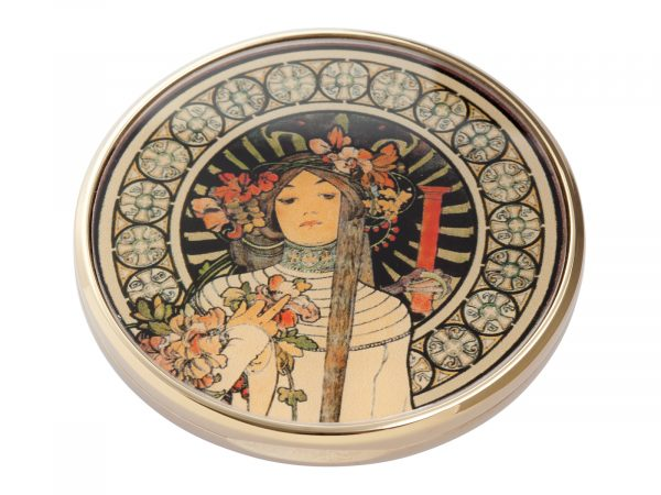 """This beautifully crafted pocket mirror by John Beswick comes with a stunning extract from the French lithograph """"La Trappistine"""" which was created by the Czech artist/Designer Alphonse Mucha. La Trappistine was a liqueur made in Paris, allegedly from a recipe handed down by Trappist monks. Size: Diameter: 7 cm - 3"""" By John Beswick. Product Code: M21MU(G)"""