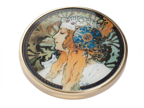 This beautifully crafted pocket mirror by John Beswick comes with a stunning extract from Alphonse Mucha's Byzantines Heads, originally a pair (Blonde and Brunnette) this pocket watch shows the head of the Blonde woman who wears a white scarf in her hair embellished with jewels and an ornate metal disk fringed with pearls.