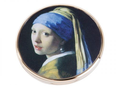 "This beautifully crafted pocket mirror by Parastone comes with a stunning extract from Johannes Vermeer's ""The Girl with the Pearl Earring"". Painted in 1665 and kept in the Hague since 1902, it was voted by the public in 2006 as the most beautiful painting in the Netherlands. Size: Diameter: 7 cm - 3"" By John Beswick / Parastone Product Code: M28VE(G)"