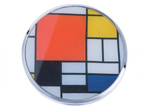 "This beautifully crafted pocket mirror made by Parastone comes with a stunning extract from Dutch painter and theoretician Piet Mondrian's ""Composition with Red, Blue and Yellow"". Painted in 1930 it is a well-known work of abstraction, Mondrian contributes to the abstract visual language in a large way despite using a relatively small canvas. Size: Diameter: 7 cm - 3"". By John Beswick / Parastone. Product Code: M31MO(S)"