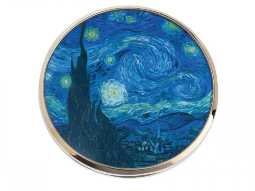 "This beautifully crafted pocket mirror made by Parastone comes with a stunning extract from Dutch impressionist Vincent Van Gogh's ""Starry night"". Painted in June 1889, it depicts the view from the east-facing window of his asylum room at Saint-Remy-de-Provence, just before sunrise. Size: Diameter: 7 cm - 3"". By John Beswick / Parastone. Product Code: M32GO(G)"