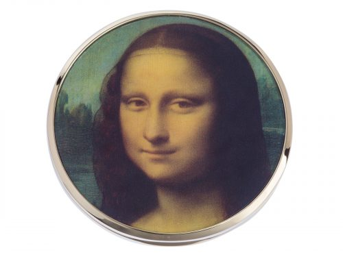 "This beautifully crafted mirror made by Parastone comes with a stunning extract from Leonardo Da Vinci's ""Mona Lisa"". A half-length portrait painting by the Italian Renaissance artist Leonardo da Vinci that has been described as ""the best known, the most visited, the most written about, the most sung about, the most parodied work of art in the world."" Size: Diameter: 7 cm - 3"". By John Beswick / Parastone. Product Code: M33DAV(G)"
