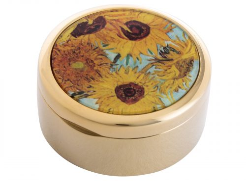 "This beautifully crafted Pill Box by Parastone comes with a stunning extract from Vincent Van Gogh's ""Sunflowers"" painted in 1888. Vincent Van Gogh's Sunflowers is  made of two separate paintings, one painted in 1987 was of sunflowers laid on the ground, the second a year later in 1988 with sunflowers in a vase. Size: Diameter: 5 cm - 2"" By John Beswick / Parastone Product Code: P01GOG(G)"