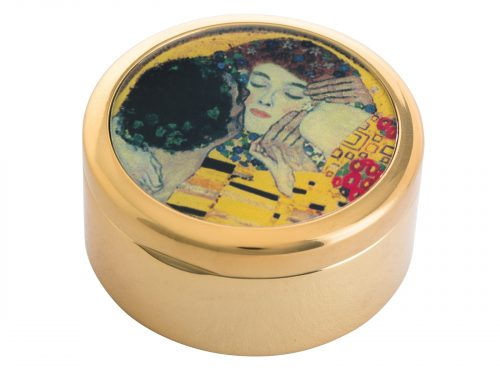 "This beautifully crafted Pill Box by Parastone comes with a stunning extract from Gustav Klimt's painting of ""The Kiss"". Gustav Klimt was an Austrian symbolist painter and one of the most prominent members of the Vienna Secession movement. This famous Klimt piece was painted in 1908/9 and depicts a couple embracing, their bodies entwined in elaborate robes decorated with oil paint infused with gold leaf. Size: Diameter: 5 cm - 2"" By John Beswick / Parastone Product Code: P04KL(G)"