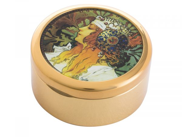 """This beautifully crafted Pill Box by Parastone comes with a stunning extract from Alphonse Mucha's Byzantines Heads, originally a pair (Blonde and Brunnette) this pocket watch shows the head of the Blonde woman who wears a white scarf in her hair embellished with jewels and an ornate metal disk fringed with pearls. Size: Diameter: 5 cm - 2"""" By John Beswick / Parastone Product Code: P05MU(G)"""
