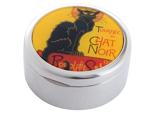 "Le Chat Noir was a nineteenth-century entertainment establishment, in the bohemian Montmartre district of Paris. This beautifully crafted Pill Box by Parastone comes with a stunning extract from painter/designer Théophile Steinlen's Poster Art advertising the ""Tour"" of Le Chat Noir's troupe of cabaret entertainers. Size: Diameter: 5 cm - 2"" By John Beswick / Parastone Product Code: P06ST(S)"
