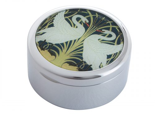"This beautifully crafted Pill Box by Parastone comes with an extract from Walter Cranes ""Two Swans"". Walter Crane was an English artist and book illustrator from the 1800s. He is considered to be the most influential, and among the most prolific, children's book creators of his generation. Size: Diameter: 5 cm - 2"" By John Beswick / Parastone Product Code: P10CRA(S)"