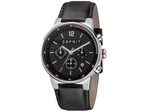 Mens Stainless steel 42mm Esprit Black calf leather Watch with a Black dial and VD53 Chronograph. Water Resistant to 10ATM. Size: 42mm. By Esprit. Product Code: ES1G025L0025.