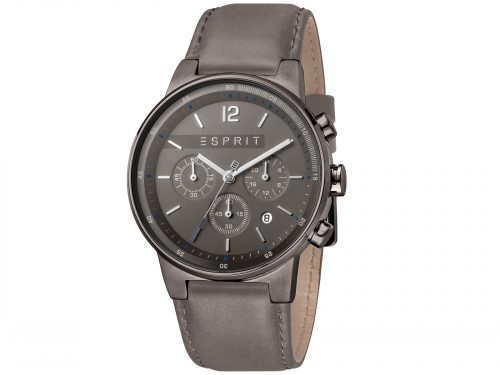 Mens Stainless steel, IP black color plated 42mm Esprit Grey calf leather Watch with a Dark grey dial and VD53 Chronograph. Water Resistant to 10ATM. Size: 42mm. By Esprit. Product Code: ES1G025L0045.