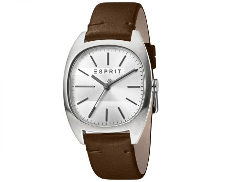 Mens Stainless steel 38mm Esprit Dark brown calf leather Watch with a Silver dial and VJ21 3 hands. Water Resistant to 3ATM. Size: 38mm. By Esprit. Product Code: ES1G038L0015.