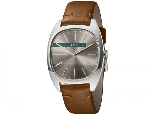 Mens Stainless steel 38mm Esprit Dark brown calf leather Watch with a Dark grey dial and VJ21 3 hands. Water Resistant to 3ATM. Size: 38mm. By Esprit. Product Code: ES1G038L0045.