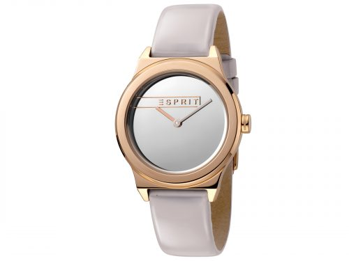 Womens 34mm Esprit Light grey patent leather Watch with a Light grey patent leather strap, Silver mirror dial and 2 hands. Water Resistant to 5ATM. Size: 34mm By Esprit Product Code: ES1L019L0055