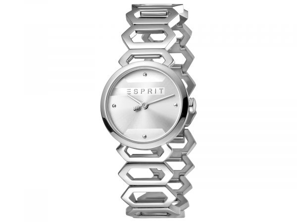 Womens 28mm Esprit Stainless steel Watch with a Stainless steel strap, Silver dial and 2 hands. Water Resistant to 5ATM. Size: 28mm By Esprit Product Code: ES1L021M0015