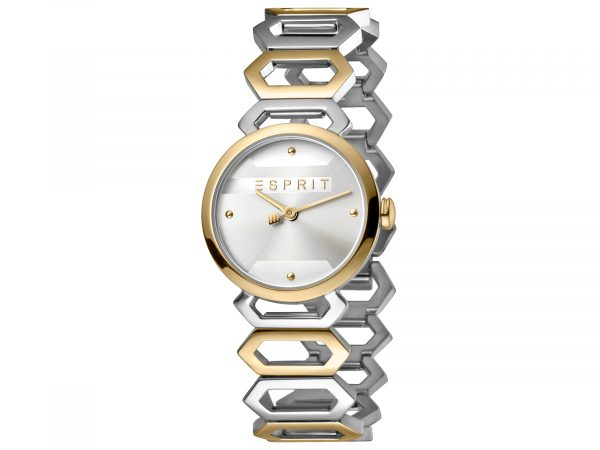 Womens 28mm Esprit Stainless steel, IP two-tone gold plated Watch with a Stainless steel, IP two-tone gold plated strap, Silver dial and 2 hands. Water Resistant to 5ATM. Size: 28mm By Esprit Product Code: ES1L021M0075