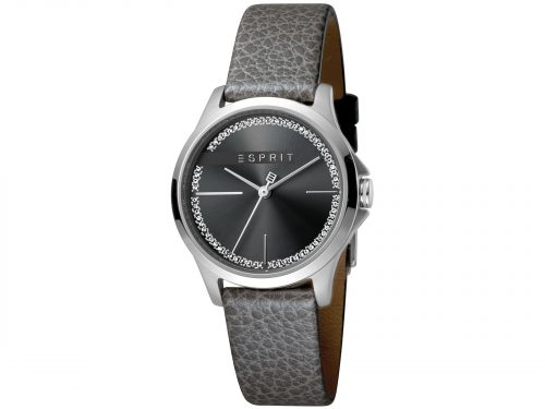 Womens 32mm Esprit Grey calf leather Watch with a Grey calf leather strap, Black with stones dial and 3 hands. Water Resistant to 5ATM. Size: 32mm By Esprit Product Code: ES1L028L0025