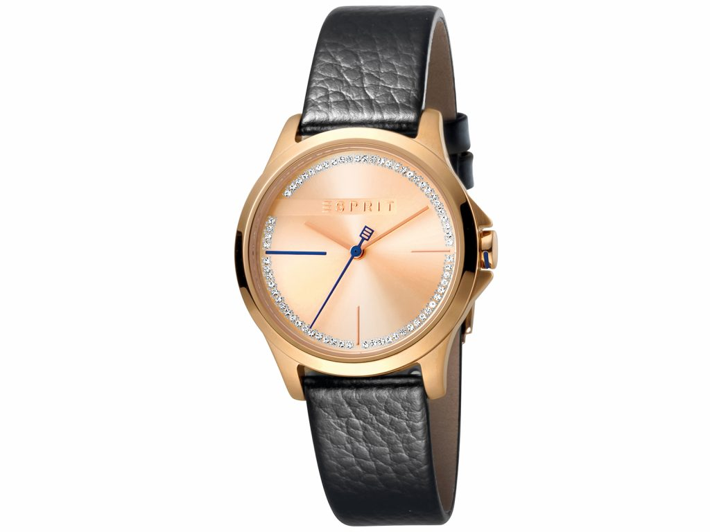 Womens 32mm Esprit Black calf leather Watch with a Black calf leather strap, Rose gold with stones dial and 3 hands. Water Resistant to 5ATM. Size: 32mm By Esprit Product Code: ES1L028L0045