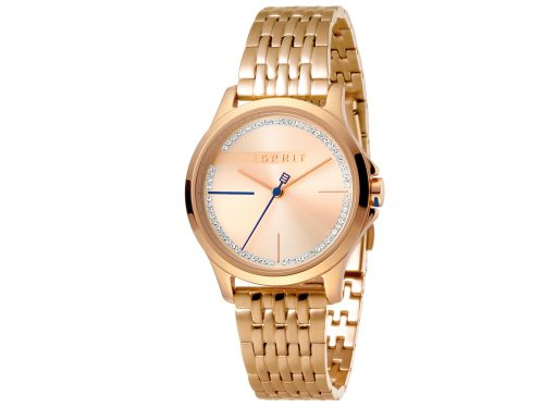 Womens 32mm Esprit Stainless steel, IP rosegold plated Watch with a Stainless steel, IP rosegold plated strap, Rose gold with stones dial and 3 hands. Water Resistant to 5ATM. Size: 32mm By Esprit Product Code: ES1L028M0085