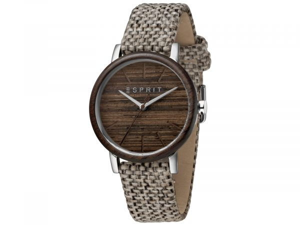 Womens Stainless steel, wood bezel 34mm Esprit Light brown canvas Watch with a Wood dial and VJ21 3 hands. Water Resistant to 3ATM. Size: 34mm. By Esprit. Product Code: ES1L030L0015.