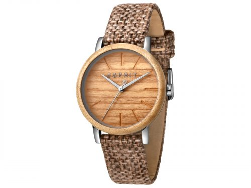 Womens Stainless steel, wood bezel 34mm Esprit Brown canvas Watch with a Wood dial and VJ21 3 hands. Water Resistant to 3ATM. Size: 34mm. By Esprit. Product Code: ES1L030L0025.