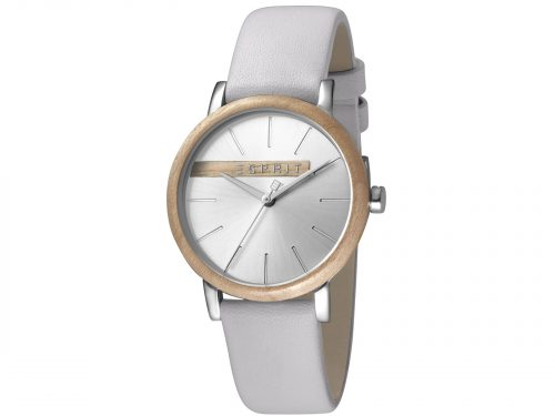 Womens Stainless steel, wood bezel 34mm Esprit Light grey calf leather Watch with a Silver with wood platform dial and VJ21 3 hands. Water Resistant to 3ATM. Size: 34mm. By Esprit. Product Code: ES1L030L0035.