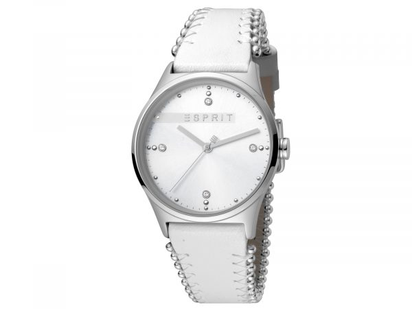 Womens Stainless steel 34mm Esprit White calf leather Watch with a Silver dial and VJ21 3 hands. Water Resistant to 3ATM. Size: 34mm. By Esprit. Product Code: ES1L032L0015.