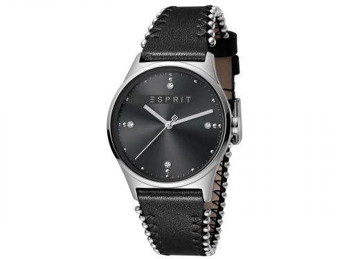 Womens Stainless steel 34mm Esprit Black calf leather Watch with a Black dial and VJ21 3 hands. Water Resistant to 3ATM. Size: 34mm. By Esprit. Product Code: ES1L032L0025.