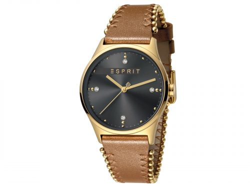 Womens Stainless steel, IP gold plated 34mm Esprit Light brown calf leather Watch with a Grey dial and VJ21 3 hands. Water Resistant to 3ATM. Size: 34mm. By Esprit. Product Code: ES1L032L0035.