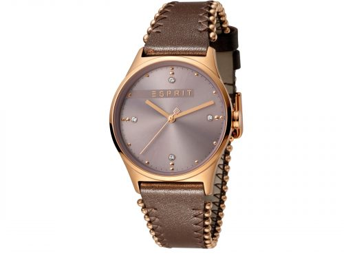 Womens Stainless steel, IP rosegold plated 34mm Esprit Dark brown calf leather Watch with a Dark pink dial and VJ21 3 hands. Water Resistant to 3ATM. Size: 34mm. By Esprit. Product Code: ES1L032L0045.