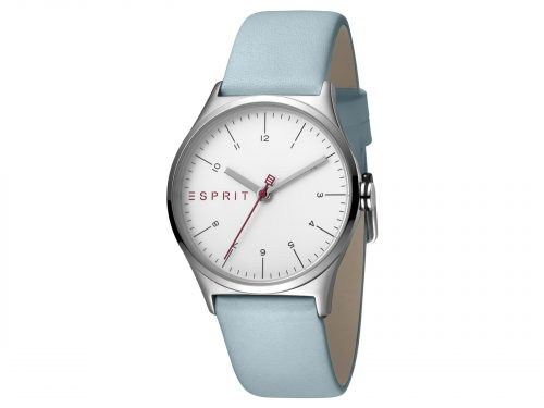 Womens Stainless steel 34mm Esprit Light blue calf leather Watch with a Silver dial and VJ21 3 hands. Water Resistant to 3ATM. Size: 34mm. By Esprit. Product Code: ES1L034L0015.