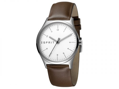 Womens Stainless steel 34mm Esprit Brown calf leather Watch with a Silver dial and VJ21 3 hands. Water Resistant to 3ATM. Size: 34mm. By Esprit. Product Code: ES1L034L0025.