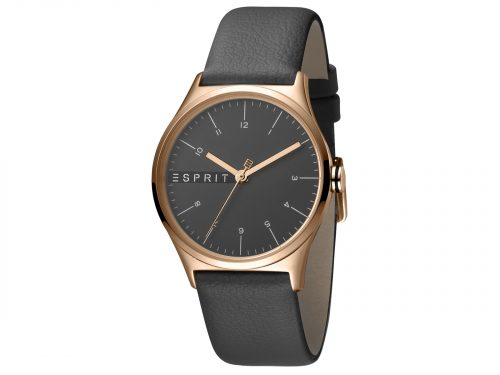 Womens Stainless steel, IP rosegold plated 34mm Esprit Grey calf leather Watch with a Grey dial and VJ21 3 hands. Water Resistant to 3ATM. Size: 34mm. By Esprit. Product Code: ES1L034L0045.