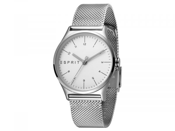 Womens Stainless steel 34mm Esprit Stainless steel mesh Watch with a Silver dial and VJ21 3 hands. Water Resistant to 3ATM. Size: 34mm. By Esprit. Product Code: ES1L034M0055.