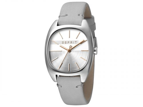 Womens Stainless steel 32mm Esprit Light grey calf leather Watch with a Silver dial and VJ21 3 hands. Water Resistant to 3ATM. Size: 32mm. By Esprit. Product Code: ES1L038L0015.