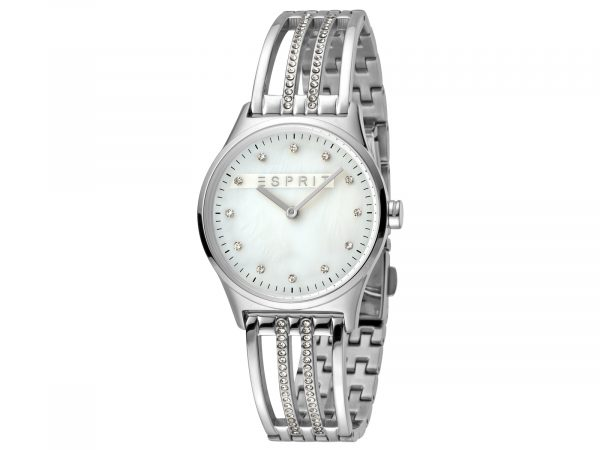 Womens Stainless steel 30mm Esprit Stainless steel + White stones Watch with a White MOP dial and 2 hands. Water Resistant to 3ATM. Size: 30mm. By Esprit. Product Code: ES1L050M0015.