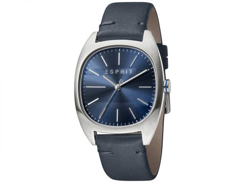 Mens Stainless steel 38mm Esprit Dark blue calf leather Watch with a Dark blue dial and VJ21 3 hands. Water Resistant to 3ATM. Size: 38mm. By Esprit. Product Code: ES1G038L0035.