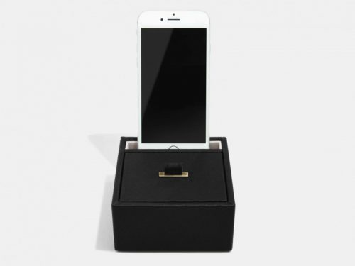 This beautifully made Stackers Black Phone / Accessory Stand is made from vegan leather and cotton, a stylish and elegant way to customise the way you store your items. Size: 9.5cm x 10cm x 4.5cm By Stackers Product Code: 75487