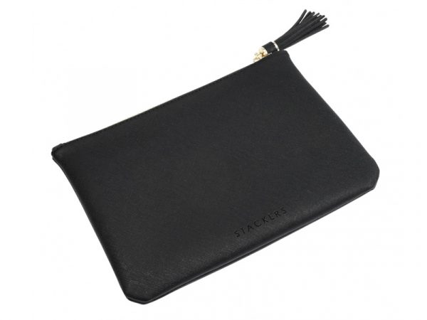 This beautifully made Stackers Black Pouch Bag is made from vegan leather and cotton, a stylish and elegant way to customise the way you store your items. Size: 23.5cm x 16.5cm x 1.5cm By Stackers Product Code: 75380