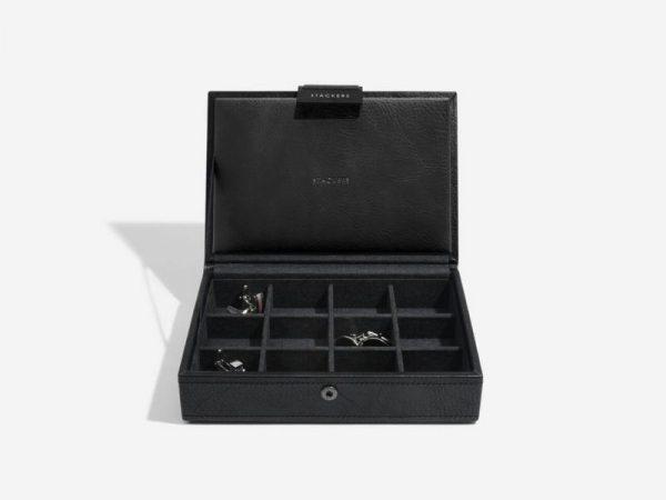 Stackers Black Lidded Mini Cufflink Box