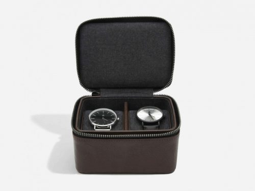 This beautifully made Stackers Brown Large Travel Watch Box is made from vegan leather and cotton, a stylish and elegant way to customise the way you store your items. Allowing you to travel in style. Size: 11.5cm x 14.5cm x 8cm By Stackers Product Code: 75396