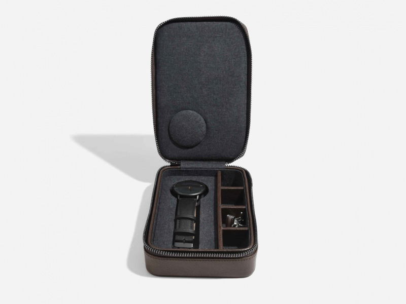 Stackers Brown Travel Watch and Cufflink Box