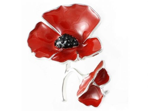 Angelys Two Poppies Poppy Brooch